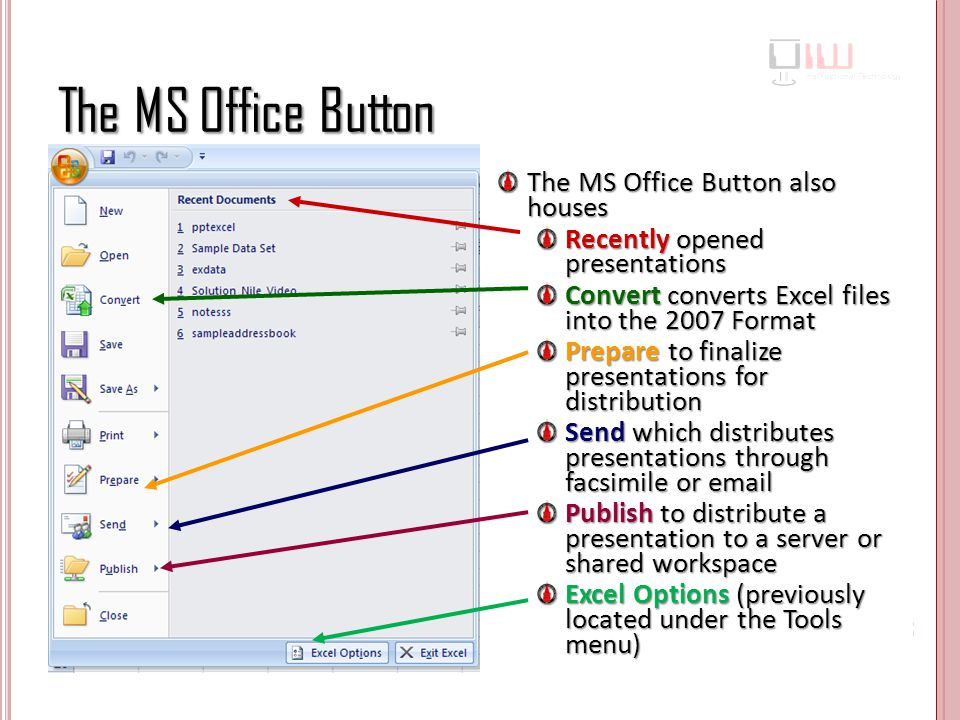 The MS Office Button The MS Office Button also houses