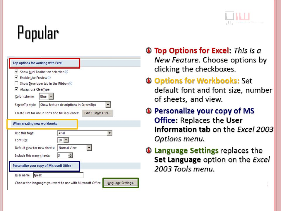 Popular Top Options for Excel: This is a New Feature. Choose options by clicking the checkboxes.