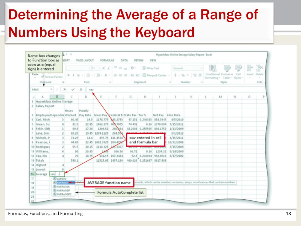 Determining the Average of a Range of Numbers Using the Keyboard