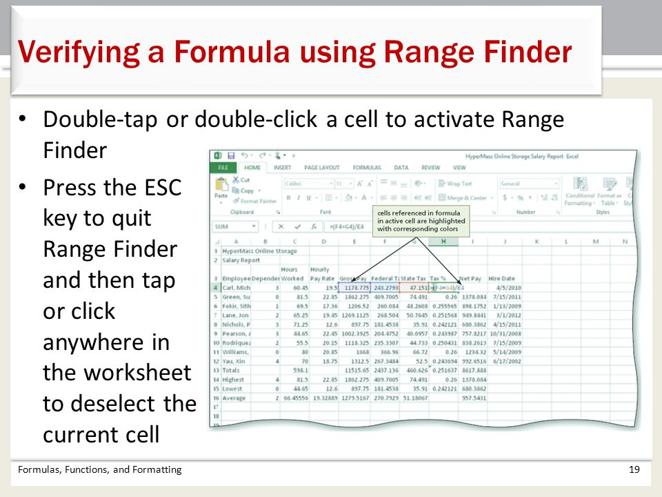 Verifying a Formula using Range Finder