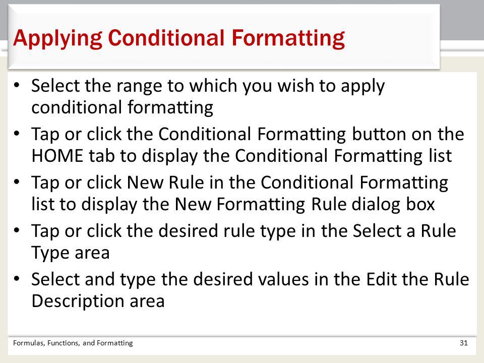 Applying Conditional Formatting