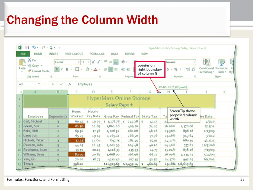 Changing the Column Width