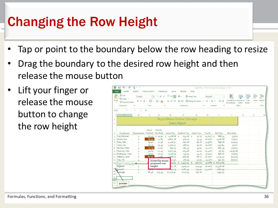 Changing the Row Height