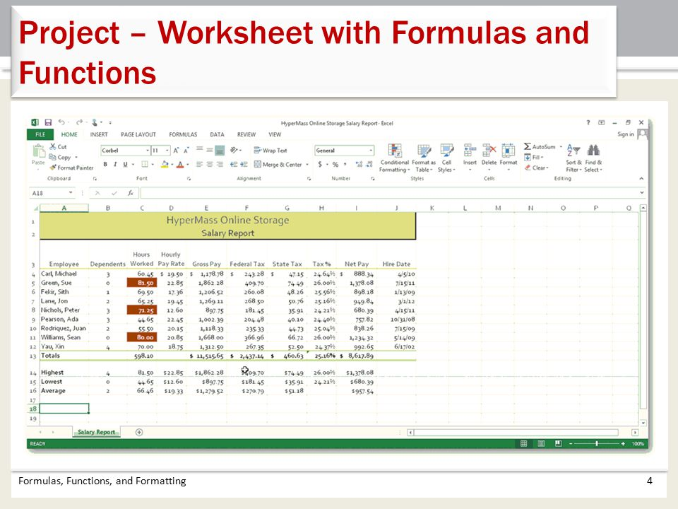 Project – Worksheet with Formulas and Functions