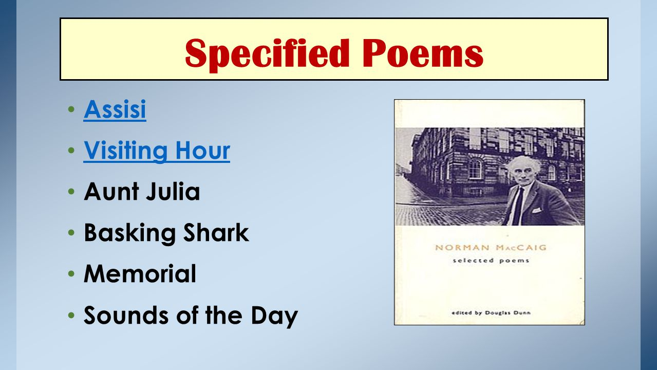 Specified Poems Assisi Visiting Hour Aunt Julia Basking Shark Memorial