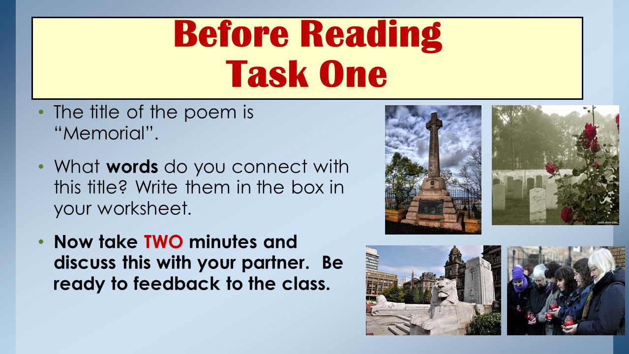 Before Reading Task One