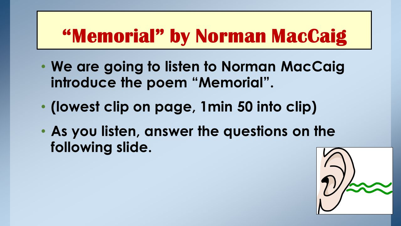 Memorial by Norman MacCaig