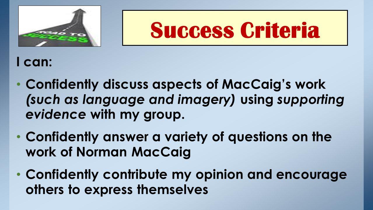 Success Criteria I can: