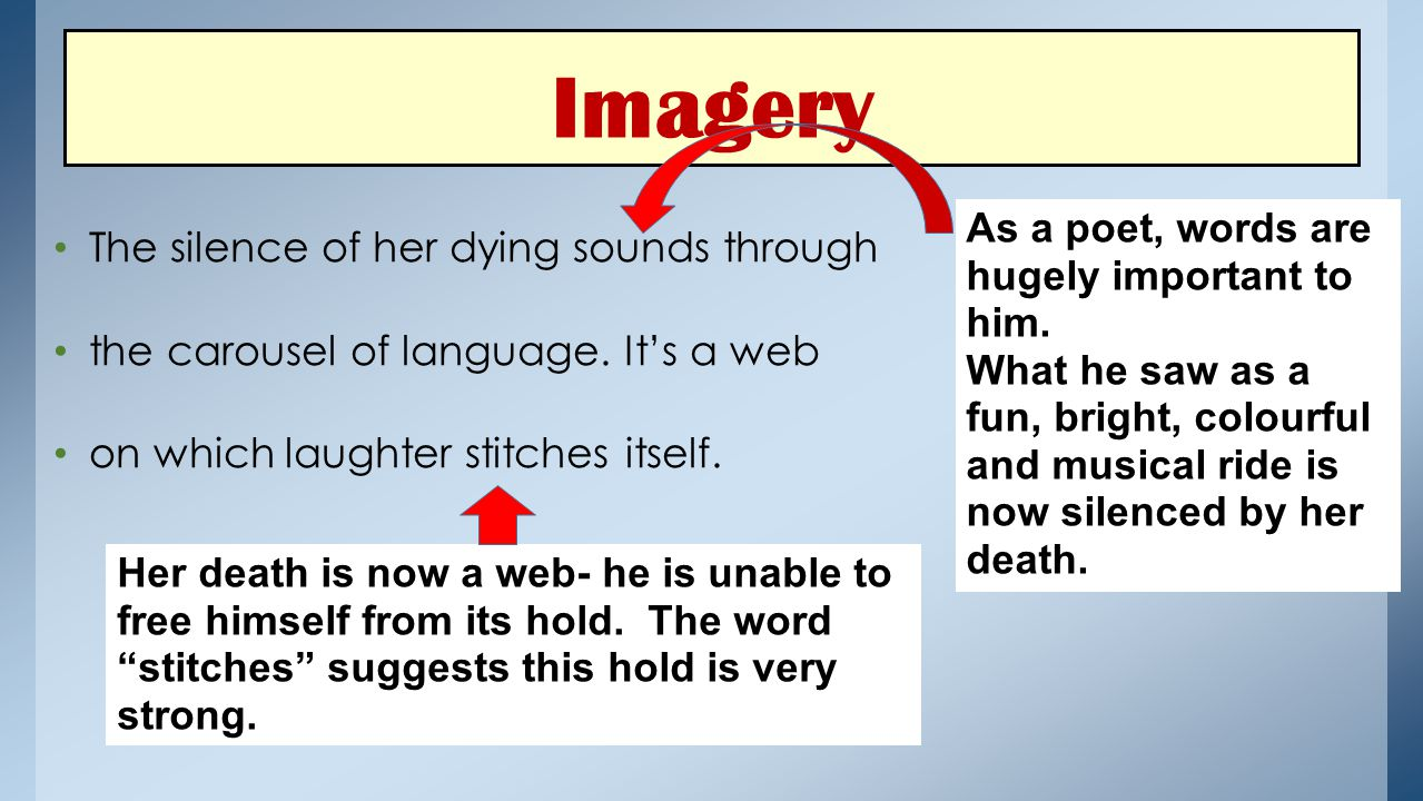 Imagery The silence of her dying sounds through