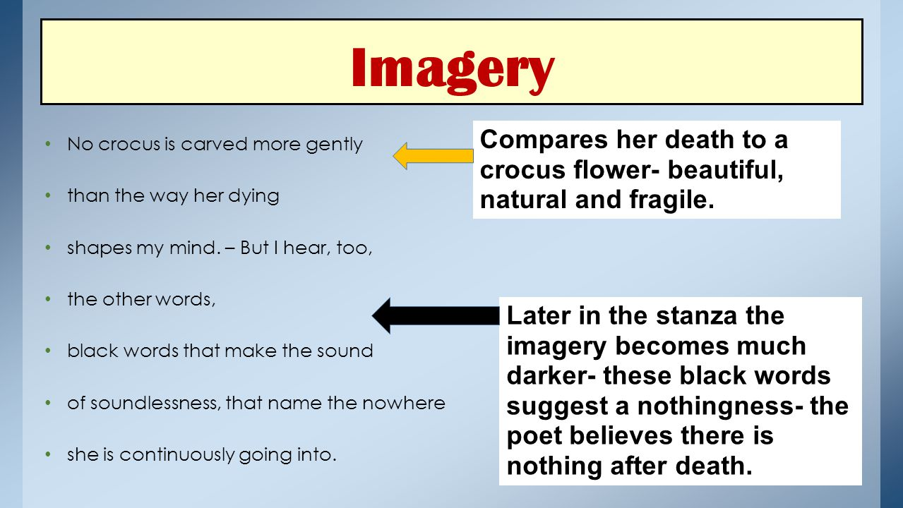 Imagery No crocus is carved more gently. than the way her dying. shapes my mind. – But I hear, too,