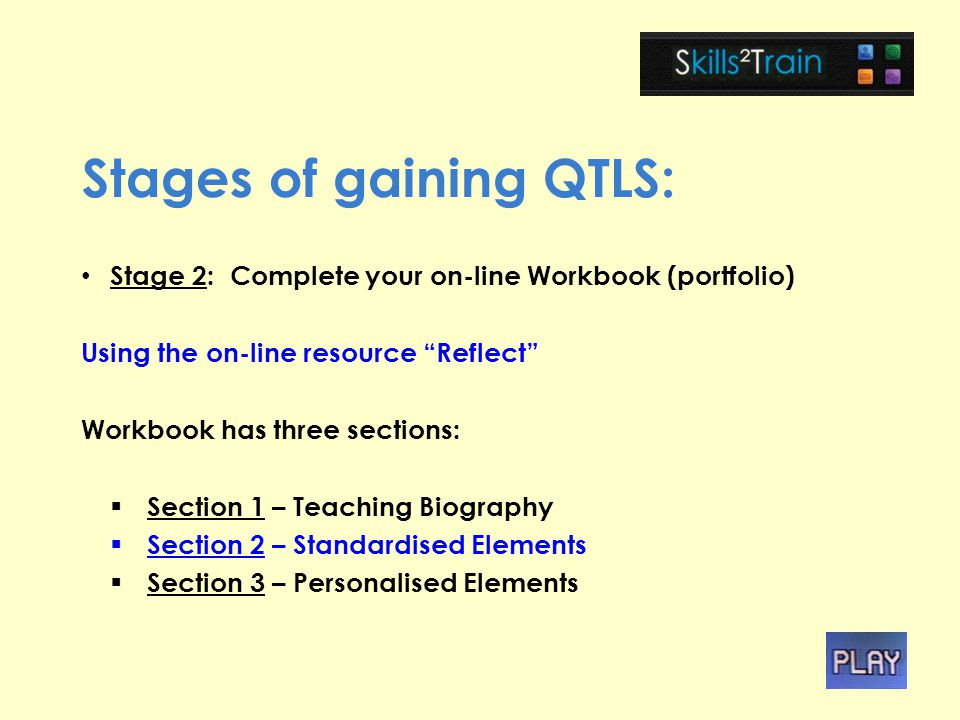 Stages of gaining QTLS: