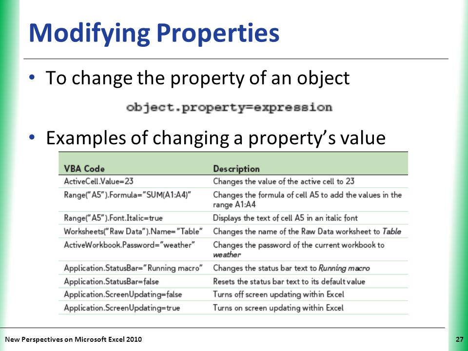 Modifying Properties To change the property of an object