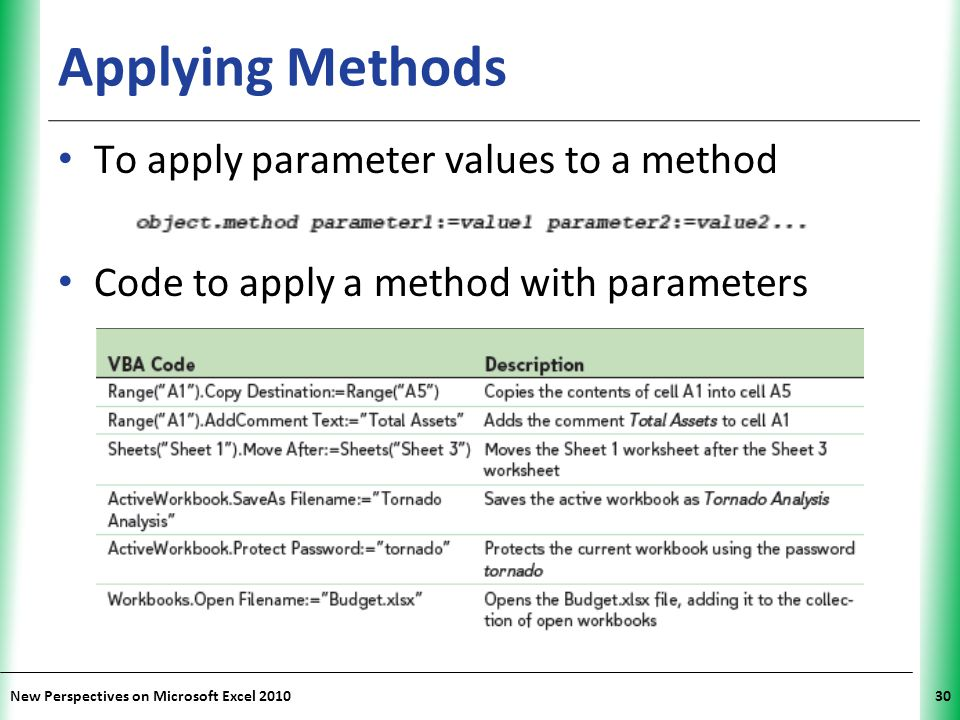 Applying Methods To apply parameter values to a method