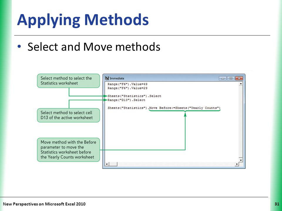 Applying Methods Select and Move methods