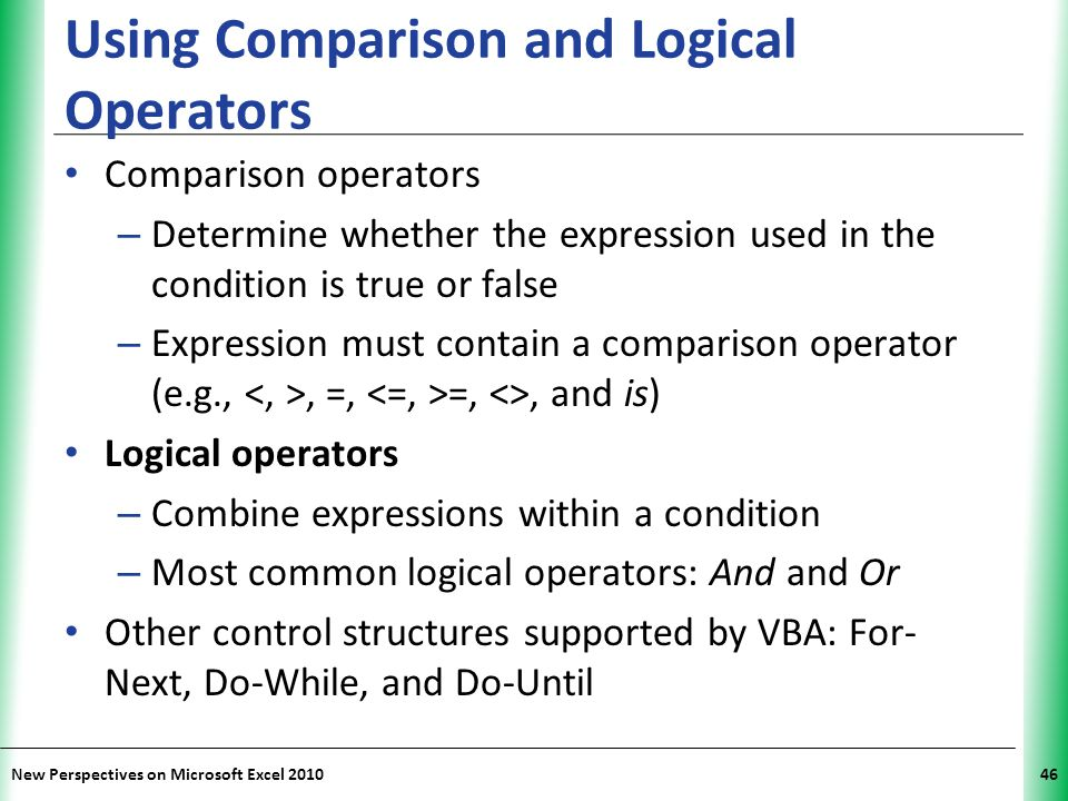 Using Comparison and Logical Operators