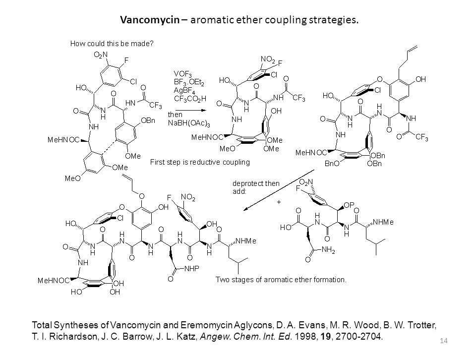 Vancomycin – aromatic ether coupling strategies.