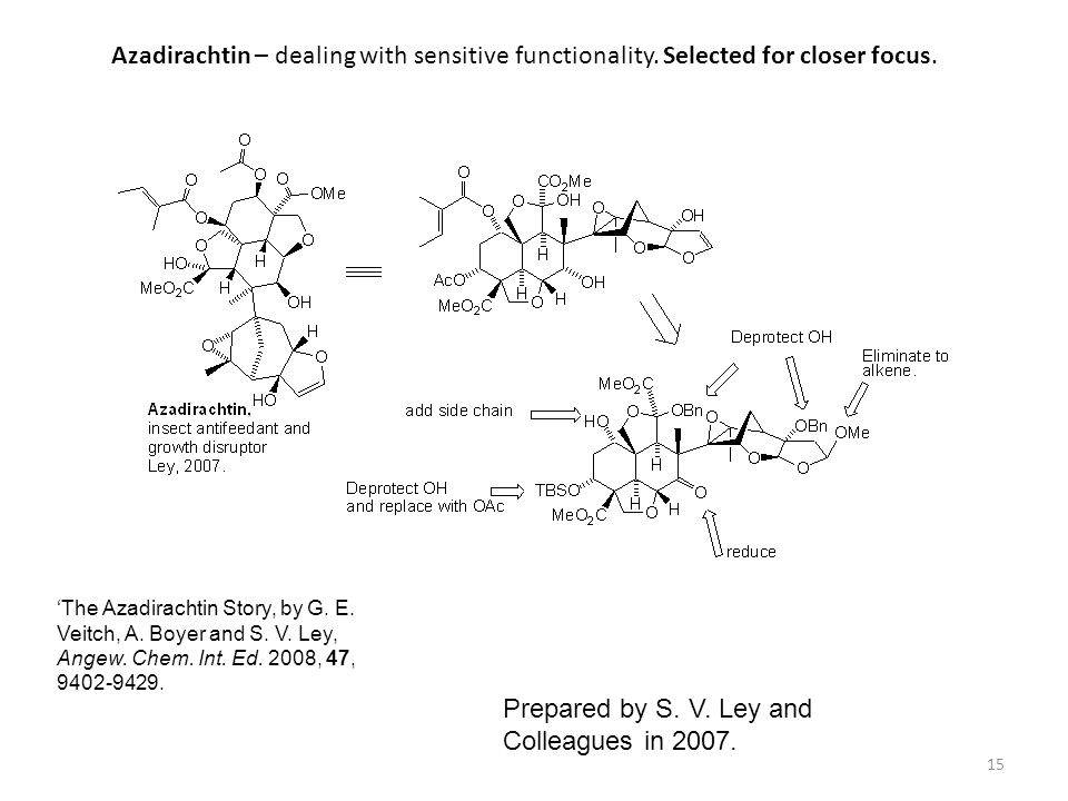 Azadirachtin – dealing with sensitive functionality