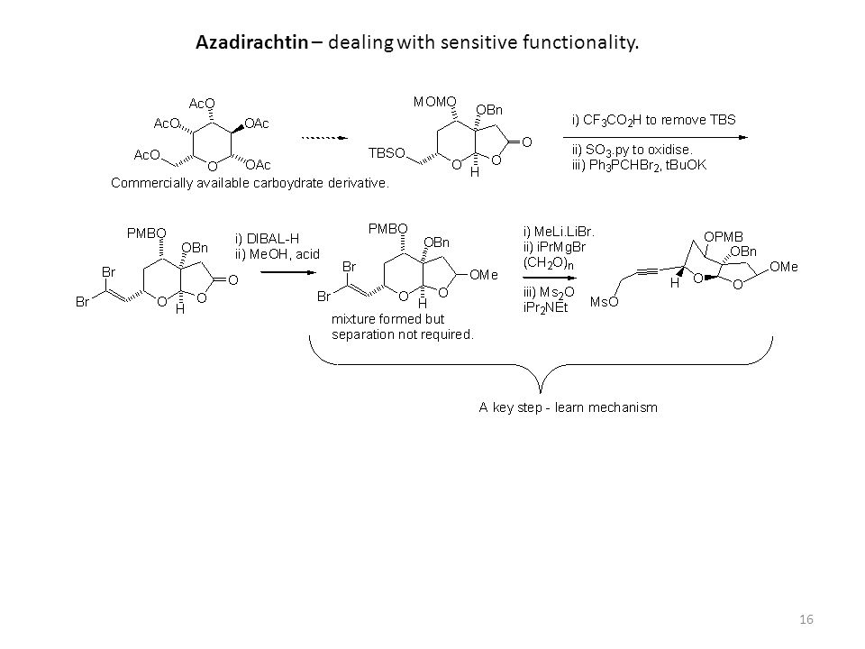 Azadirachtin – dealing with sensitive functionality.
