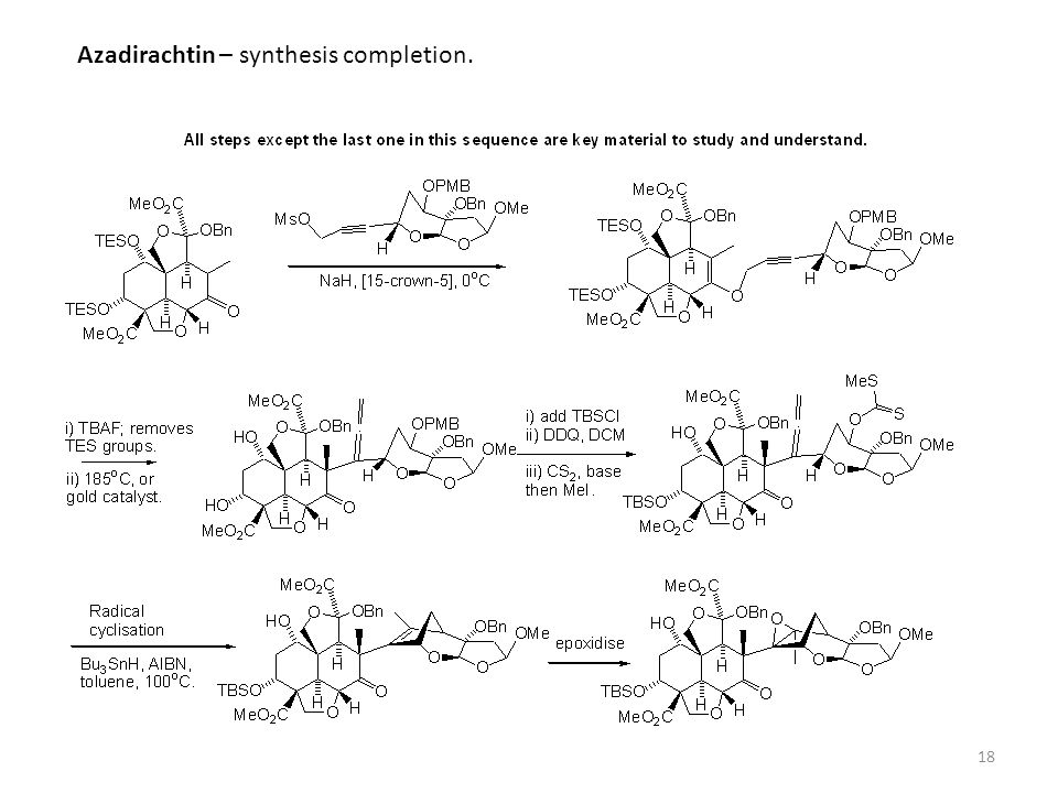 Azadirachtin – synthesis completion.