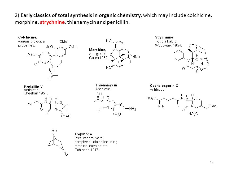 2) Early classics of total synthesis in organic chemistry, which may include colchicine, morphine, strychnine, thienamycin and penicillin.