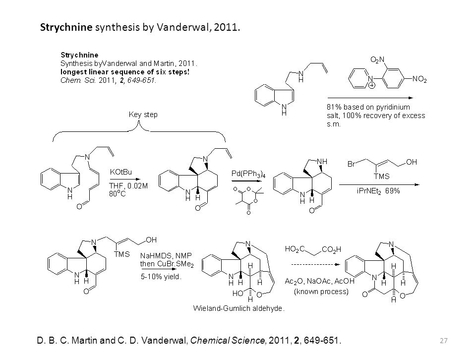 Strychnine synthesis by Vanderwal, 2011.