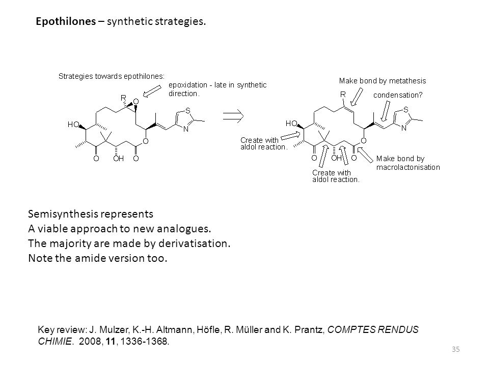 Epothilones – synthetic strategies.