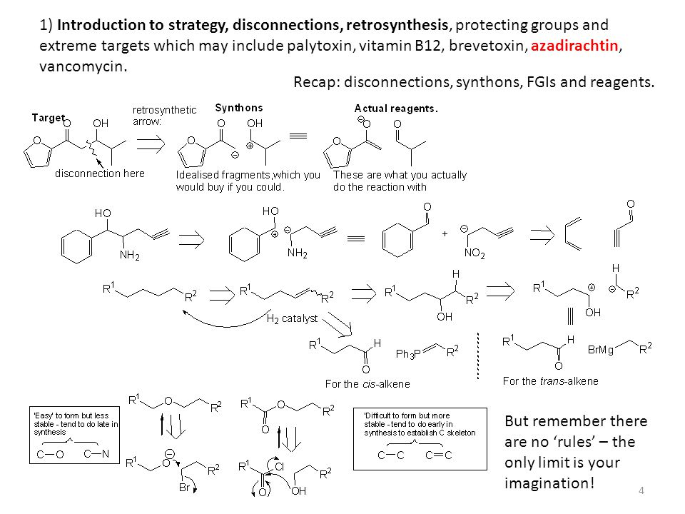 1) Introduction to strategy, disconnections, retrosynthesis, protecting groups and extreme targets which may include palytoxin, vitamin B12, brevetoxin, azadirachtin, vancomycin.