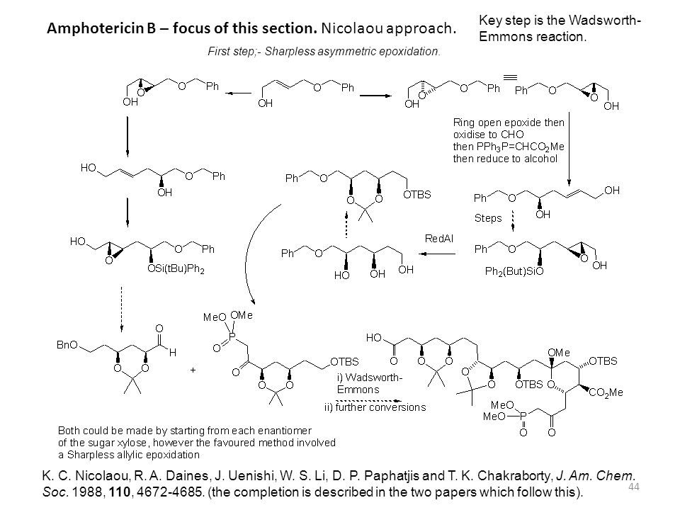 Amphotericin B – focus of this section. Nicolaou approach.