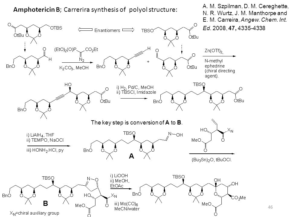 Amphotericin B; Carrerira synthesis of polyol structure: