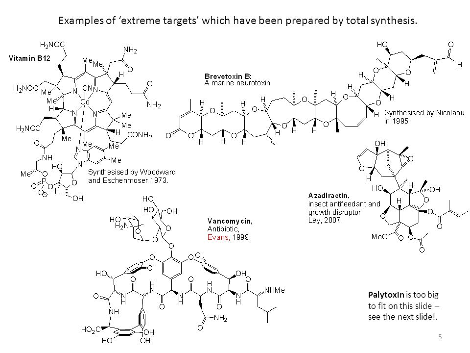 Examples of 'extreme targets' which have been prepared by total synthesis.