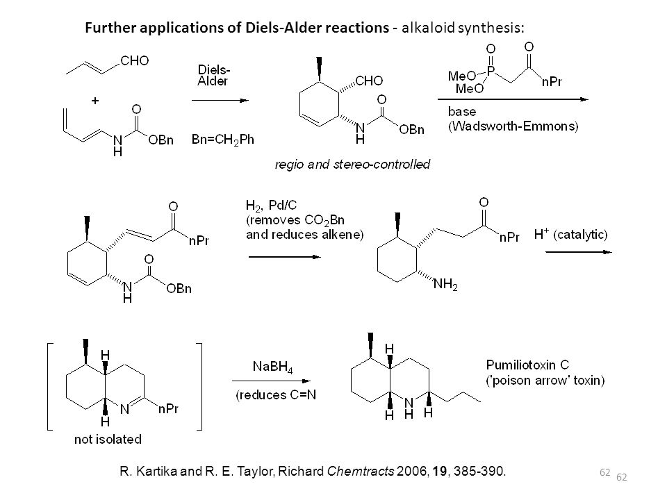 Further applications of Diels-Alder reactions - alkaloid synthesis:
