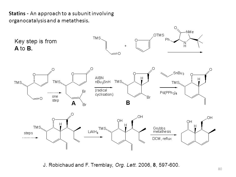 Statins - An approach to a subunit involving organocatalysis and a metathesis.