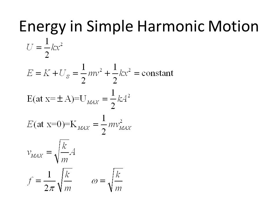 Energy in Simple Harmonic Motion
