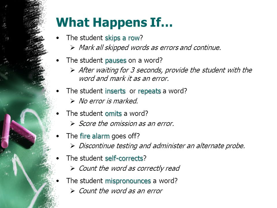 What Happens If… The student skips a row
