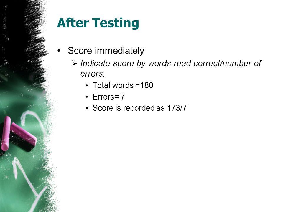 After Testing Score immediately