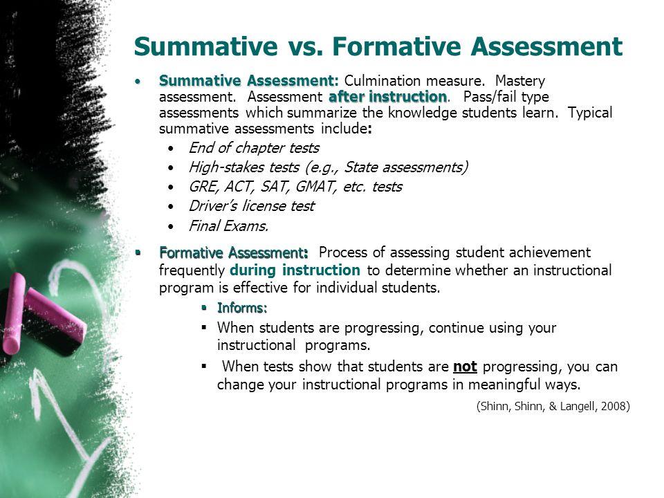 Summative vs. Formative Assessment