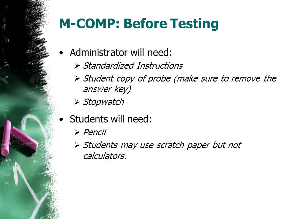 M-COMP: Before Testing