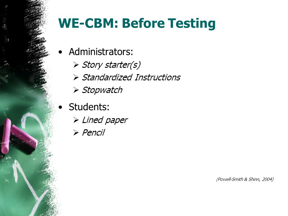 WE-CBM: Before Testing