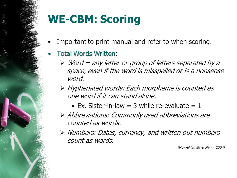 WE-CBM: Scoring Important to print manual and refer to when scoring.