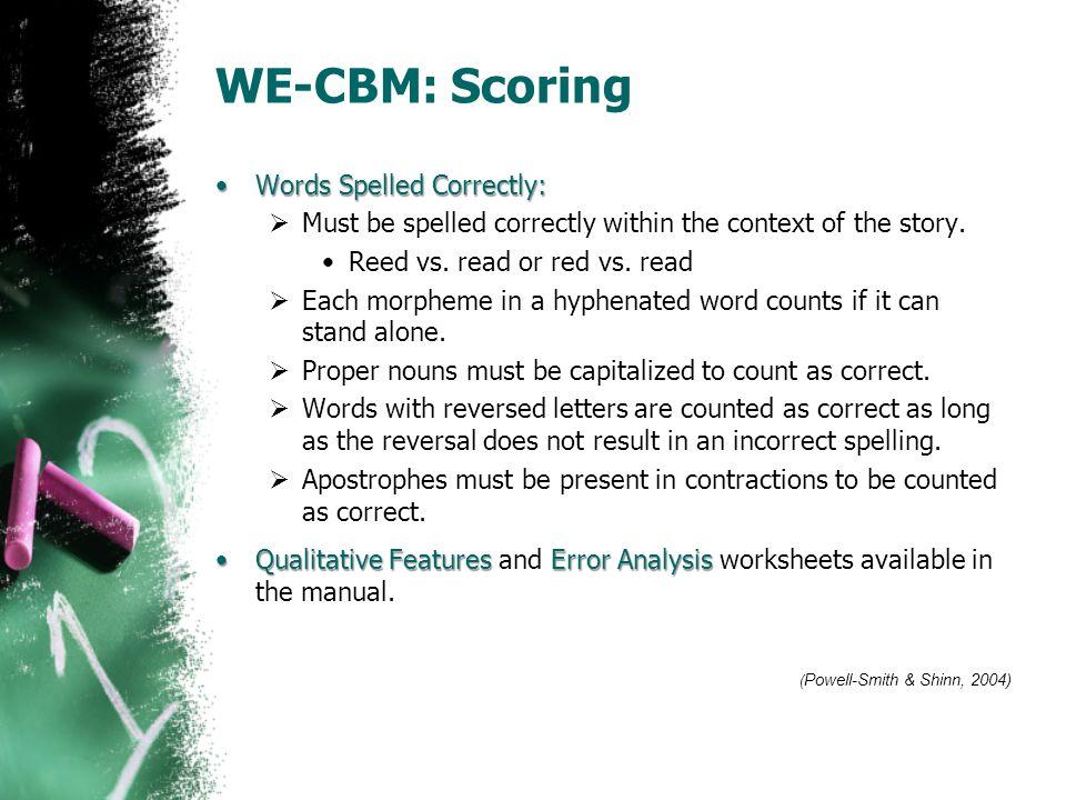 WE-CBM: Scoring Words Spelled Correctly: