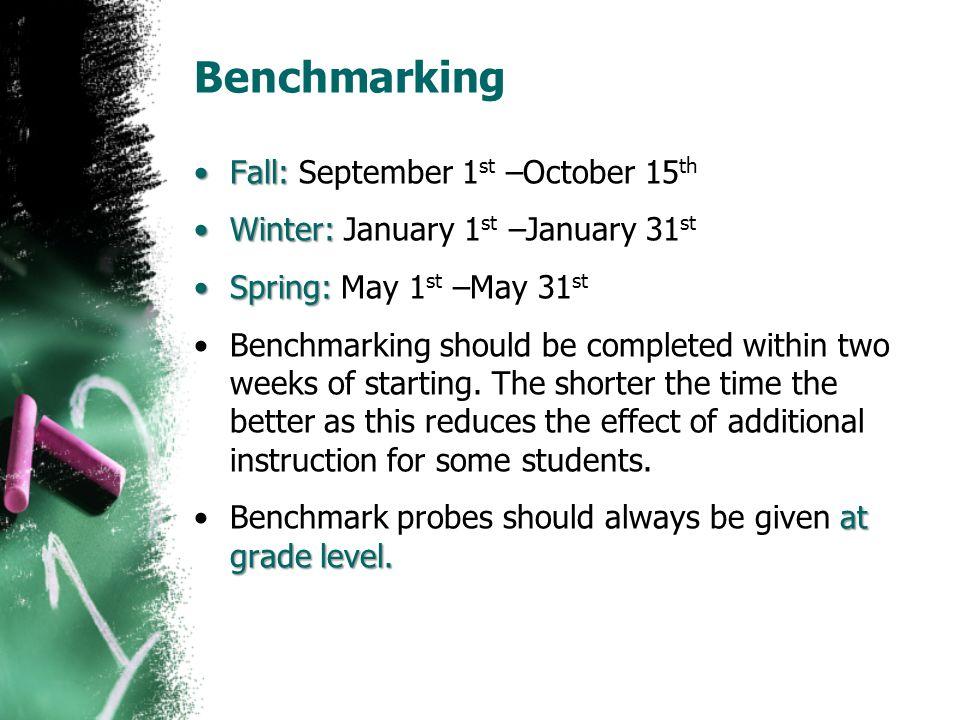 Benchmarking Fall: September 1st –October 15th