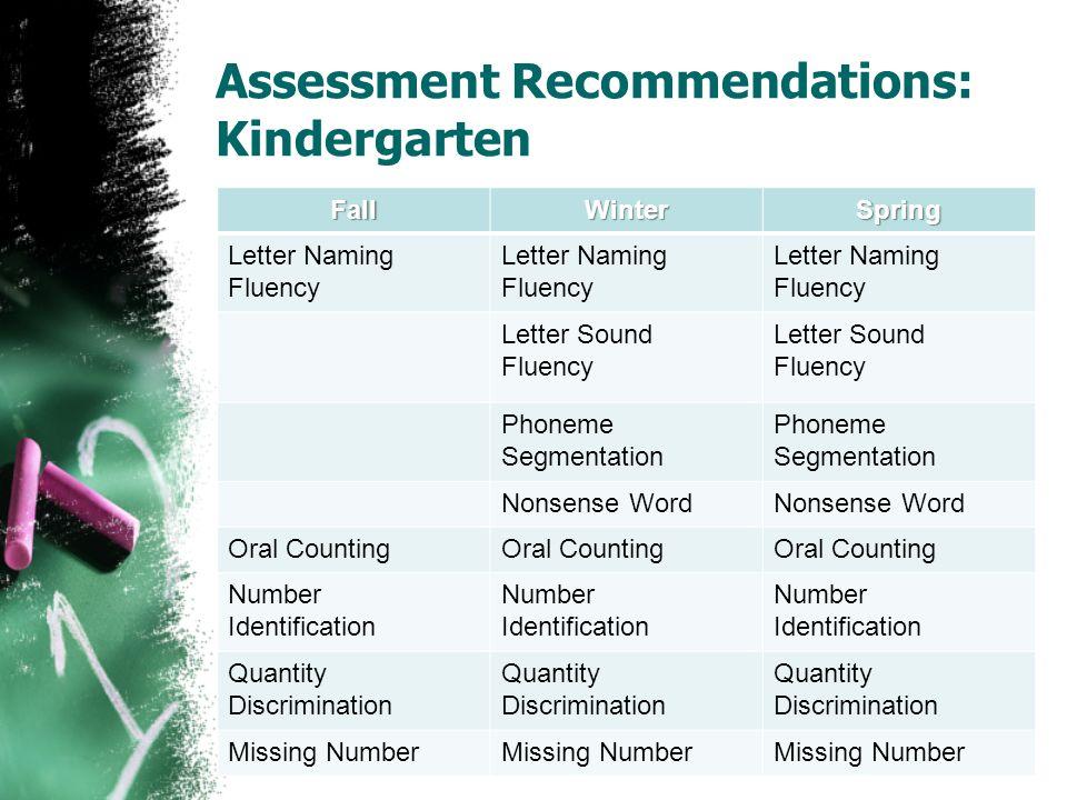 Assessment Recommendations: Kindergarten