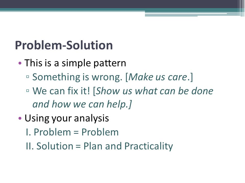 Problem-Solution This is a simple pattern