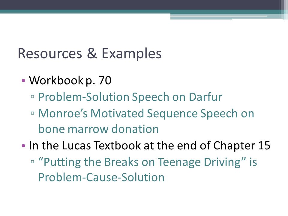Resources & Examples Workbook p. 70 Problem-Solution Speech on Darfur
