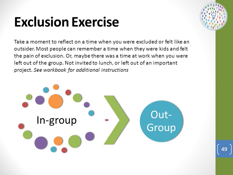 Exclusion Exercise Out-Group In-group
