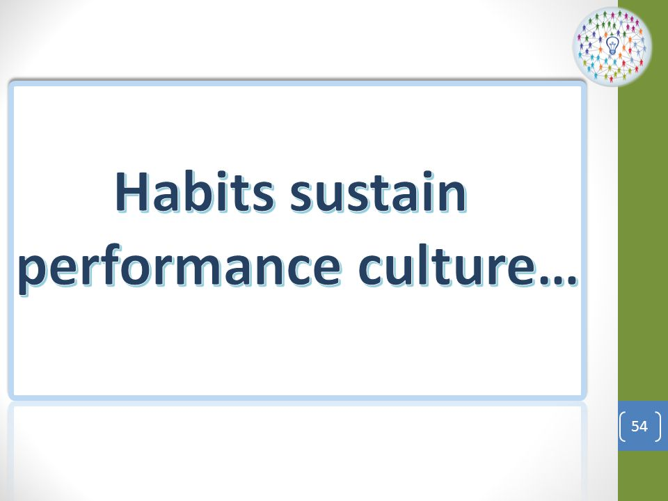 Habits sustain performance culture…
