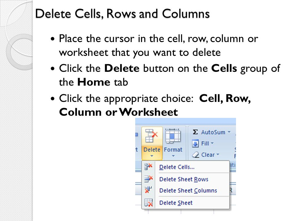 Delete Cells, Rows and Columns