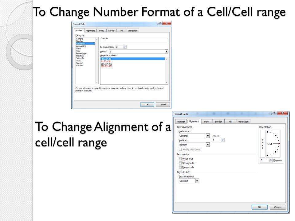 To Change Number Format of a Cell/Cell range