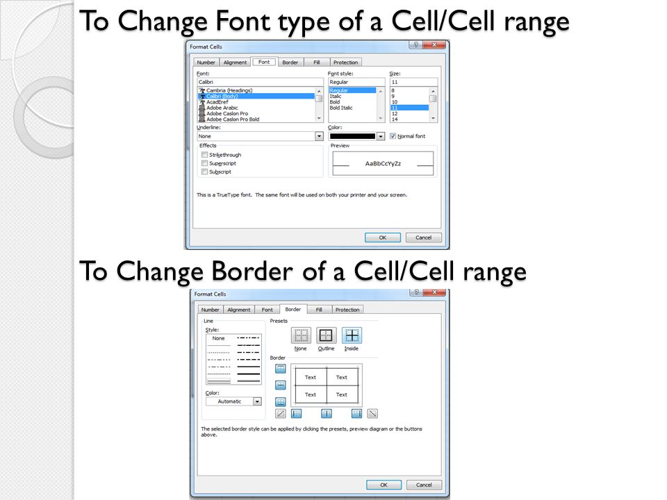 To Change Font type of a Cell/Cell range