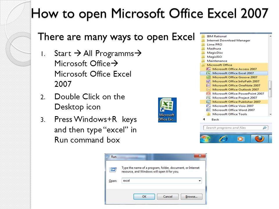 How to open Microsoft Office Excel 2007